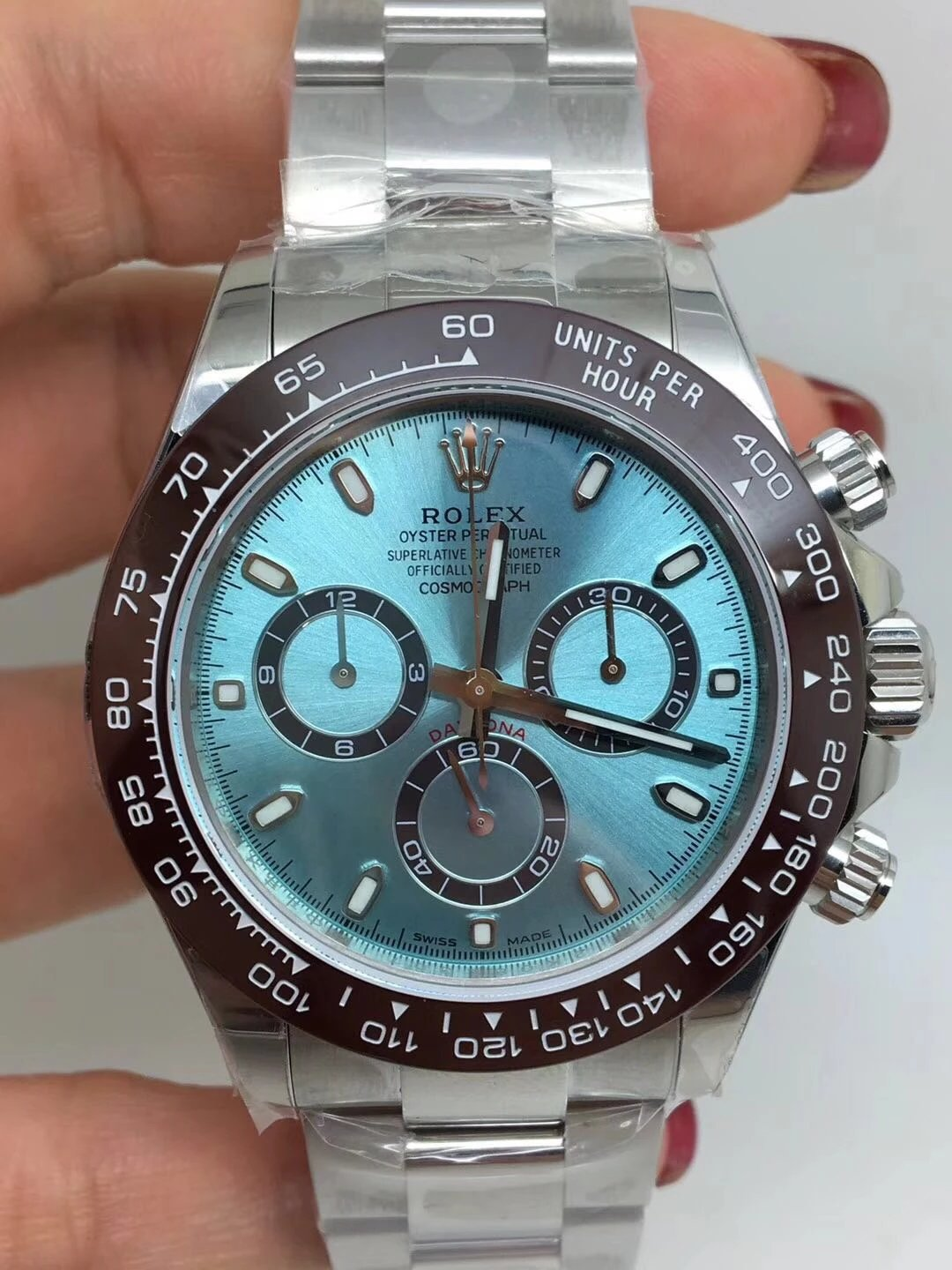 Noob Replica Rolex Daytona Ice Blue Brown Ceramic Bezel