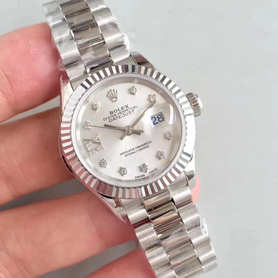 Stainless Steel 28mm Datejust Rolex with Diamonds