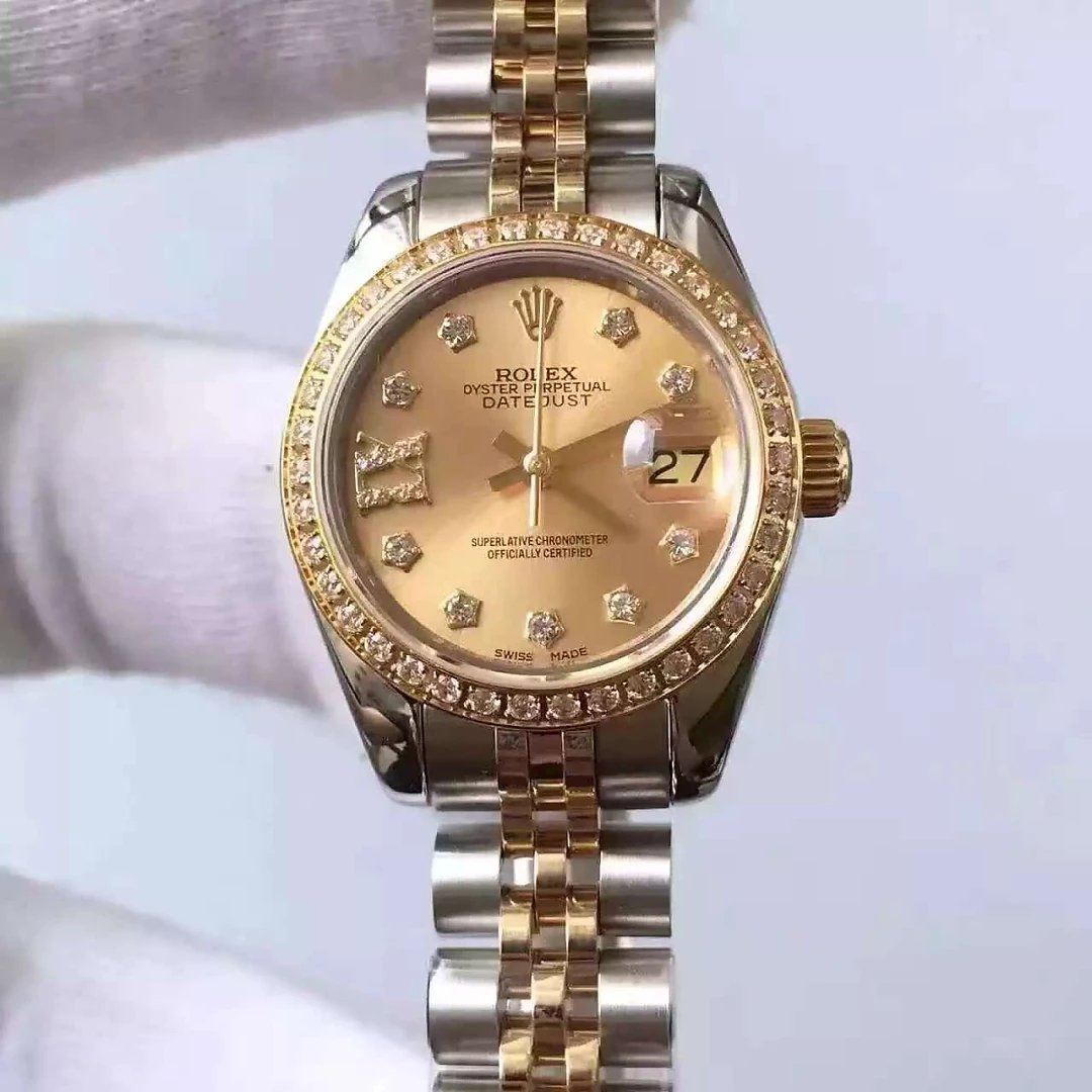 Two Tone 33mm Datejust Rolex Golden Dial