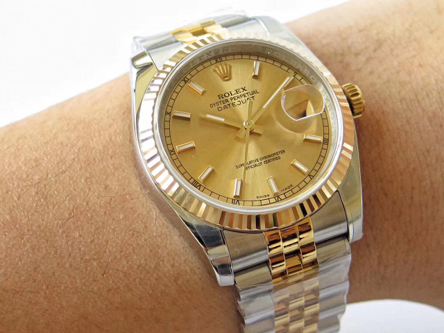 Replica Rolex 36mm Datejust Two Tone Wrist Shot