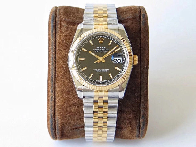 Replica Rolex Two Tone Datejust Black Dial