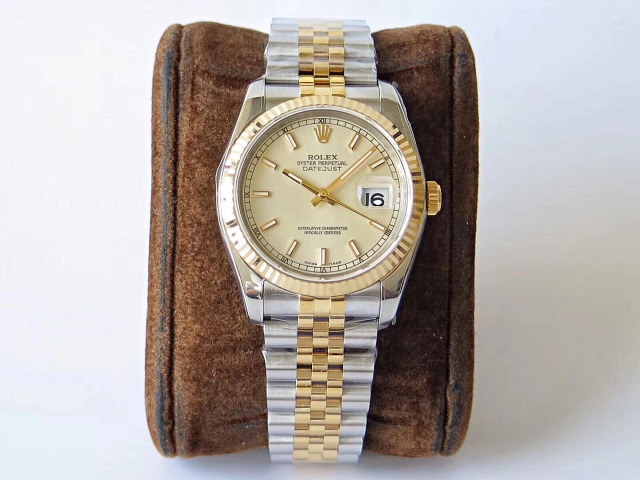 Replica Rolex Two Tone Datejust Silver White Dial