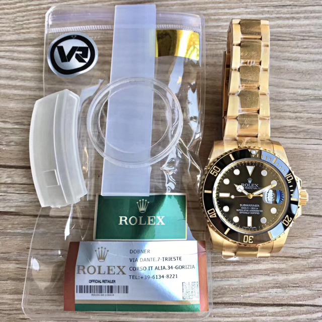VR Factory Golden Rolex Submariner Black