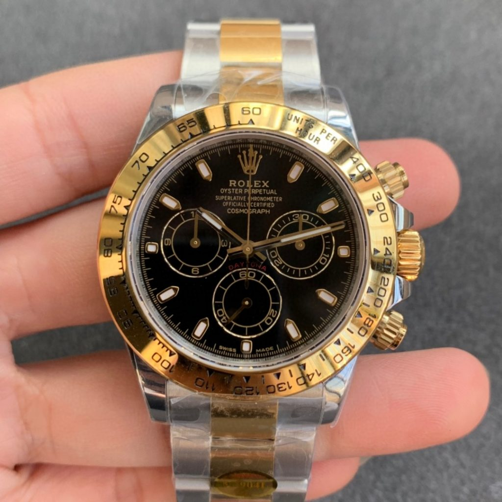 Noob Replica Rolex Daytona Two Tone Black Dial